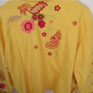 Coldwater Creek Yellow Floral Jacket